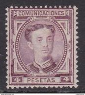 ESPAÑA 1876 - Alfonso XII Sello Nuevo Con Fijasellos 4 Pesetas Edifil Nº 181 -MH- - Neufs