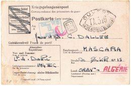 Kriegsgefangenenpost GUERRE DALLEE Kriegsgefangenenlager OFLAG VI D Gepruft 12 RT Censure TA 316 MASCARA ORAN MUNSTER - Marcophilie (Lettres)