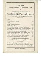 Kemmel September 1955 Augustus 1956 Gedachtenis Overleden Parochianen - Obituary Notices
