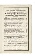 Kemmel September 1956 Augustus 1957 Gedachtenis Overleden Parochianen - Obituary Notices