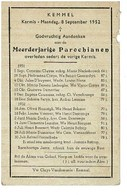 Kemmel September 1951 Augustus 1952 Gedachtenis Overleden Parochianen - Obituary Notices