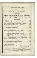 Kemmel September 1952 Augustus 1953 Gedachtenis Overleden Parochianen - Obituary Notices