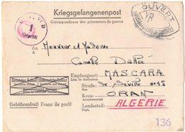 Kriegsgefangenenpost Guerre Prisonnier DALLEE Kriegsgefangenenlager OFLAG VI D Gepruft 1 Censure YB MASCARA ORAN MUNSTER - Marcophilie (Lettres)
