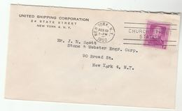 1950 UNITED SHIPPING Corporation New York COVER USA Stamps Ship - Bateaux