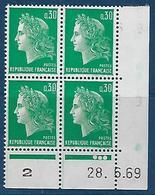 """FR Coins Datés YT 1611 """" Marianne Cheffer 30c. Vert """" Neuf** Du 28.6.69 - Angoli Datati"""