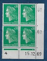 """FR Coins Datés YT 1611 """" Marianne Cheffer 30c. Vert """" Neuf** Du 15.12.69 - Angoli Datati"""