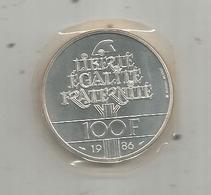 Piéce , Monnaie , France , 100 Francs LIBERTE , 1986, Argent , Silver  , FDC , Scéllée Sous Blister ,  2 Scans - France