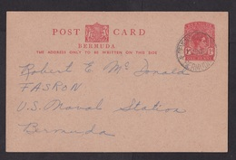 Bermuda: Stationery Postcard, 1953, King George VI, From Radio Society To US Naval Station (traces Of Use) - Bermuda