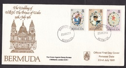 Bermuda: FDC First Day Cover, 1981, 3 Stamps, Royal Wedding Prince Charles & Diana, Lady Di (traces Of Use) - Bermuda