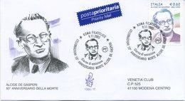 ITALIA - FDC  VENETIA  2005 - ALCIDE DE GASPERI - VIAGGIATA - ANNULLO SPECIALE - 1946-.. République