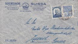 Brazil Via Aerea SOCIEDADE SUISSA, RIO DE JANEIRO 1928 Cover Letra ZÜRICH Suisse Ruy Barbosa & Hermes Mercury - Brésil