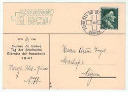 Suisse /Schweiz/Svizzera/Switzerland // Journée Du Timbre // 1941 // Zurich (carte + Oblitération Suplémentaire) - Journée Du Timbre