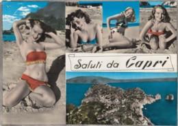 Beautiful Women In Bikini Swimsuits, 'Saluti Da Capri' Italy, Beach Scene, C1960s Vintage Postcard - Pin-Ups