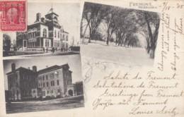 Fremont Nebraska, Early Multi-view High School, WH Fowler Building, Street Scene, C1900s Vintage Postcard - Fremont
