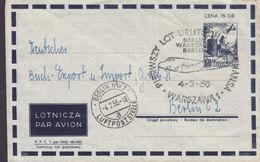 Poland Postal Stationery Ganzsache Entier Deutsche LUFTHANSA 1956 Cover Brief BERLIN - WASZAWA Aeroplane Cachet - Ganzsachen