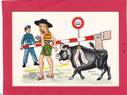 Carte Humoristique - Retour De Vacances - Taureau - David Soriano - 2 Scans. - Taureaux