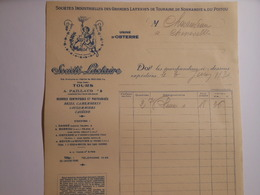 T093 / Facture Fromages SOCIETE LACTAIRE 1931 Paillaud TOURS - Obterre Dangé Barrou Esves-le-Moutier - Rechnungen