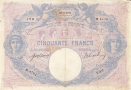Billet 50 F Bleu Et Rose Du 20-8-1913 FAY 14.26 Alph. M.4784 - 50 F 1889-1927 ''Bleu Et Rose''