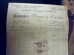 Facture GRAND GARAGE LORRAIN A BAR LE DUC AUTOMOBILE PeUGEOT CAMIONS  BLAFFLY ANNÈE 193? - Francia