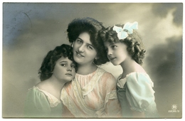 PRETTY MOTHER WITH TWO DAUGHTERS : HAND-COLOURED - Women