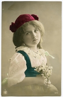 PRETTY GIRL WITH RED HAT AND POSY OF FLOWERS : HAND-COLOURED - Portraits