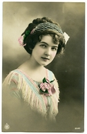 PRETTY GIRL WITH FLOWERS : HAND-COLOURED - Women