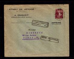 1927 ETABLI DE MENAGE Tarif Imprimé 15c Semeuse Romans-sur-Isère 7-3-27 Pour Paris Retour Envoyeur Imprimés A2 Voie Inc - Marcophilie (Lettres)