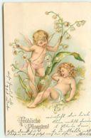 N°9998 - Carte Fantaisie Gaufrée - Fröhliche Pfingsten - Angelots Et Muguet - Pentecôte