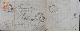 YT 3 K Rose Bayern Kreuzer Impression Relief Armoiries CAD Grunstadt 14/8 Lettre Du 14 Août 1871 Taxe Crayon Bleu 2 - Bavière