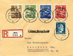 Lettre Recommandée De Metz Pour Sarrebourg. Affranchissement Multiple Du 29/06/1943 - Alsace-Lorraine
