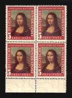 Mona Lisa Stamp From Germany MNH ** Block Of 4 Leonardo Da Vinci Renacentist Art Painting (A_4268) - Madones