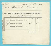 PHILIPPE SCLAUBAS FILS, BRASSEUR (Brasserie) A JUMET 1884 (B8650) - Belgique
