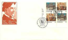 1977   Tom Thompson, Painter  Sc 733-4  Plate Block Of 4 - Premiers Jours (FDC)