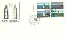 1984  Lighthouses Sc 1032-5    Plate Block  Of 4 Different - Omslagen Van De Eerste Dagen (FDC)