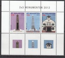 2012 St. Maarten Monuments Miniature Sheet Of 3 Stamps MNH  @ 80% Of FACE VALUE - Curacao, Netherlands Antilles, Aruba
