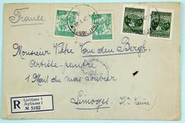 Lettre Recommandée 1948 Ljubliana --> Limoges, Affr. 12 Dinars - 1945-1992 Sozialistische Föderative Republik Jugoslawien