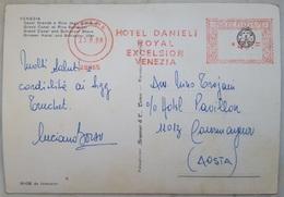 Venezia, Canal Grande Riva Schiavoni - AFFRANCATURA MECCANICA ROSSA - HOTEL DANIEL ROYAL EXCELSIOR - Red Meter - V2 - Venezia