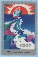 Soviet Union USSR RUSSIA Pocket Calendar Sea Fleet Azov Shipping Company Plastic Laminated 1977 - Calendars