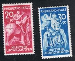 1948 18. Okt. Rheinland-Pfalz Mi DE-FRP 30 - 31 Yt DE-FRP 39 - 40 Sg DE-FR 30 - 31 AFA DE-FRP 30 - 31 Postfrich Xx - Französische Zone