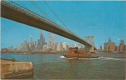 W1276 New York - Brooklyn Bridge - Navi Ships Bateaux / Viaggiata 1970 - Brooklyn