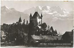 W1279 Thun - Schloss Mit Blick Auf Bluemlisalp - Chateau Castle Castello Castillo / Viaggiata 1955 - BE Berne