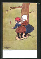 Künstler-AK George Edward Shepheard: Fürchte Nichts!, Scherz, Kleines Paar Beobachtet Hasen - Shepheard