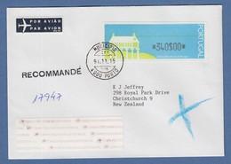 Portugal 1991 ATM Espigueiro Mi.-Nr. 3 Wert 340$ Auf R-FDC PORTO N. Neuseeland  - Automatenmarken (ATM/Frama)