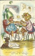 """G. Bouret - Enfants En Salon De Coiffure """"on Voit Que MMe Ne Fait Pas Le Ménage     -- M D 975 - Bouret, Germaine"""