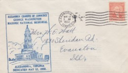 Masonic National Memorial Alexandria Virginia Dedication 12 May 1932 9c Washington Issue Sc#714 Cover - Event Covers
