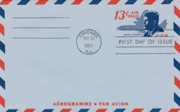 Sc#UC39 13c Kennedy Air Mail Aerogramme FDC, 29 May 1967 Chicago IL Postmark - First Day Covers (FDCs)