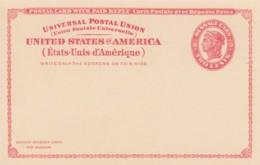 Sc#UY11 Unused Postal Stationery Reply Card Attached 2c+2c 1924 Issue - Postwaardestukken