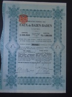 ALLEMAGNE - CIE FERMIERE DES EAUX DE BADEN-BADEN, TITRE DE 1 ACTION  DE 4£ - 1911 - Hist. Wertpapiere - Nonvaleurs