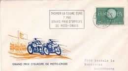 GRAND PRIX D'EUROPE DE MOTO CROSS. SPECIAL COVER  CIRCULEE 1961 EURE(FRANCE) A LUXEMBOURG - BLEUP - Moto