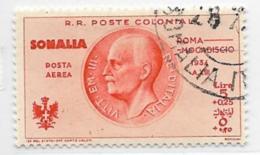 Somalia Scott # CB8 Used Victor Emmanuel Lll, 1934, CV$120.00, Tiny Thin Spot, Perfs Are OK - Somalia